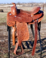 Draft Horse round skirt tooled western saddle