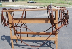 Premium russet leather  driving harness horse size